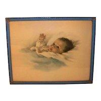 Vintage 1921 Framed Original Color Lithograph Baby Portrait Awakening By Bessie Pease Gutmann