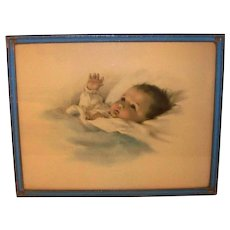 Vintage 1921 Framed Original Color Lithograph Baby Portrait Awakening By Bessie Pease Gutmann