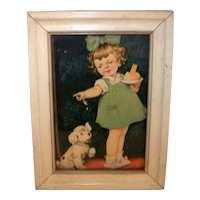 Vintage 1940's Reliance Picture Frame Company Framed Girl and Dog Print