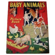 Vintage 1938 Children's Baby Animals Illustrated Picture Book