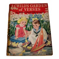 Vintage 1937 A Child's Garden Of Verses Illustrated Picture Book
