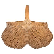 Vintage Woven Splint Oak Buttocks Handled Basket