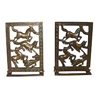 Vintage Brass Horse Figural Hinged Bookends
