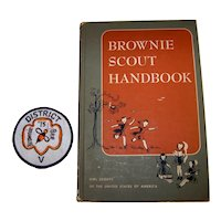 Vintage 1959 Hardback Brownie Scout Official Scouting Handbook & Uniform Patch
