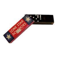 Vintage 1940's Lone Star Boxed Domino Set By The Embossing Company