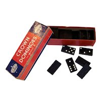 Vintage 1940's Crown Boxed Domino Set By The Embossing Company