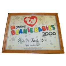 Vintage Framed McDonalds Year 2000 In-Store Advertising Paper Sign Introducing Ty Teenie Beanie Babies