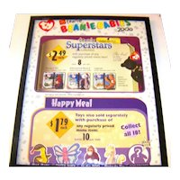 Vintage Framed McDonalds Year 2000 In-Store Advertising Tie-In Happy Meals And Ty Teenie Beanie Baby Superstars