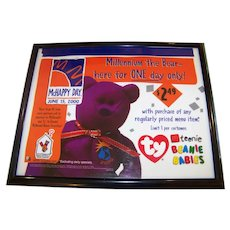 Vintage Framed McDonalds Year 2000 In-Store Advertising Poster For Fisher Price Toddler Toys - Ty Teenie Beanie Babies And The Ronald McDonald House Charity
