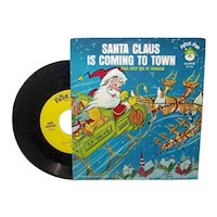 Vintage Santa Claus Is Coming To Town 45 RPM Record Recorded by Peter Pan Records