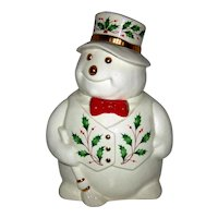 Vintage 1980's Lenox Porcelain Happy Holly Days Snowman Cookie Jar