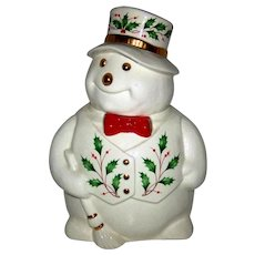 Vintage 1980's Lenox Porcelain Happy Holly Days Snowman Cookie Jar