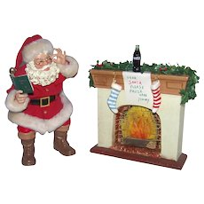 Vintage Coca-Cola Ceramic Display Of Christmas Eve Scene And Santa Claus