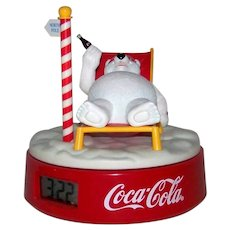 Vintage 1995 Coca-Cola Rotating Polar Bear Musical Digital Alarm Clock