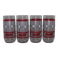 Vintage 1985 Coca-Cola Frosted Tiffany Style Window Tumbler Glassware Set