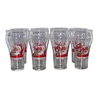 Vintage 1979 Coca-Cola Bell Shaped Snowflake Holly Holiday Santa Claus Glassware Set