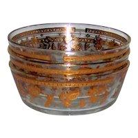 Vintage 1960's Culver Ltd. Signed Gold Chantilly Glass Cereal Bowls