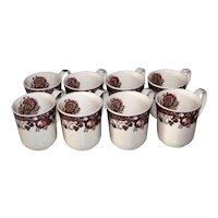 Vintage Johnson Brothers Of England Pottery Company Coffee Cup Set In His Majesty Pattern