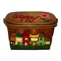 Vintage 1960's Original Caro-Nan Handled Wooden Basket Purse