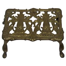 Vintage All=Brass English Fireplace Footed Cooking Trivet