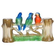 Vintage Occupied Japan Ceramic Birds On A Fence Double Bud Vase