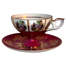 Vintage French Hand-Painted China Tea Cup & Saucer Set