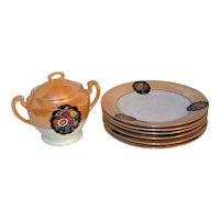 Vintage Noritake Lustreware Covered Jar & Plate Set