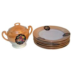 Vintage Noritake Lustreware Covered Jar & Plate Set