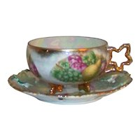 Vintage Royal Sealy Hand-Painted China Footed Tea Cup & Reticulated Saucer Set