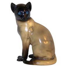 Vintage Reissued Universal Statuary Polished Chalk Ware   Siamese Cat