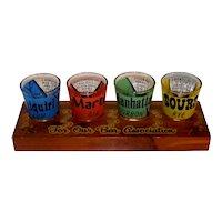 Vintage 1950's Souvenir Bar Set Glassware