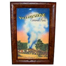 Vintage Yellowstone National Park Old Faithful Geyser Framed Souvenir Scenic Card