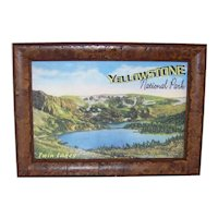 Vintage Yellowstone National Park Twin Lakes Framed Souvenir Scenic Card
