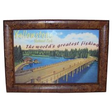 Vintage Yellowstone National Park The World's Greatest Fishing Framed Souvenir Scenic Card