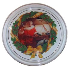 Vintage 1993 Coca-Cola Company Santa Claus Image Glass Holliday Serving Tray