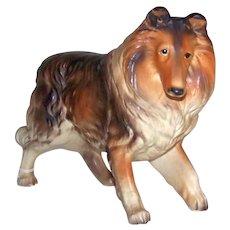 Vintage 1950's Made In Japan Porcelain Rough Border Collie Lassie Image Large Figurine