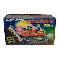 Vintage 1962 Original New Old Stock Nomura Toy Company Tin Litho Magic Action Bulldozer