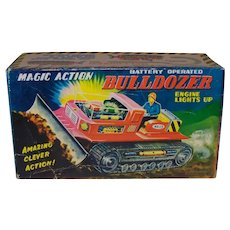 Vintage 1962 Original New Old Stock Nomura Toy Company Tin Litho Magic Action Bulldozer