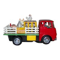 Vintage 1966 Frankonia New Old Stock Tin Litho Battery Operated Ol' McDonald's Farm Truck