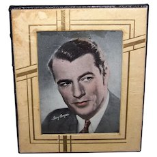 """Vintage 1940's 5"""" x 7"""" Leather Picture Frame With Gary Cooper Picture"""