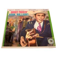 """Vintage 1956 Hank Williams Sr Honky Tonkin 7"""" Extended Play 45 RPM Record"""