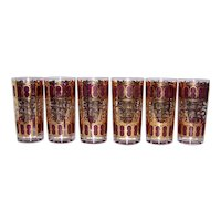 Vintage Culver Cranberry Azure Collins Glassware Set