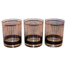 Vintage 1991 Culver Devon Black Pattern Double Old Fashioned Glassware