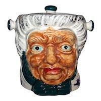 Vintage Old Gray Woman Character Ceramic Cookie Jar
