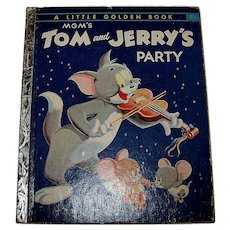 Vintage 1955 First Edition Little Golden Book MGM Tom & Jerry's Party Children's Book