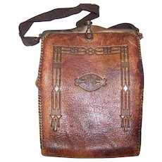 Vintage 1920's Art Nouveau Nocona Arts & Crafts Style Tooled Leather Purse
