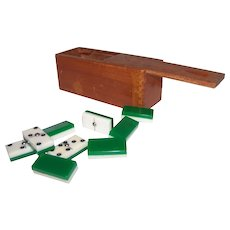 Vintage Green & White Duo-Color Spinner Domino Set