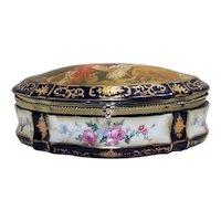 Vintage Transfer Painted Ladies Porcelain Dresser Box