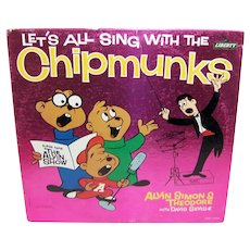 Vintage 1961 Let's All Sing With The Chipmunks Record Album