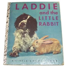Vintage 1952 Children's First Edition Little Golden Book Titled Laddie And The Little Rabbit